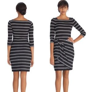 WHBM 3/4 Sleeve Faux Wrap Stripe Dress